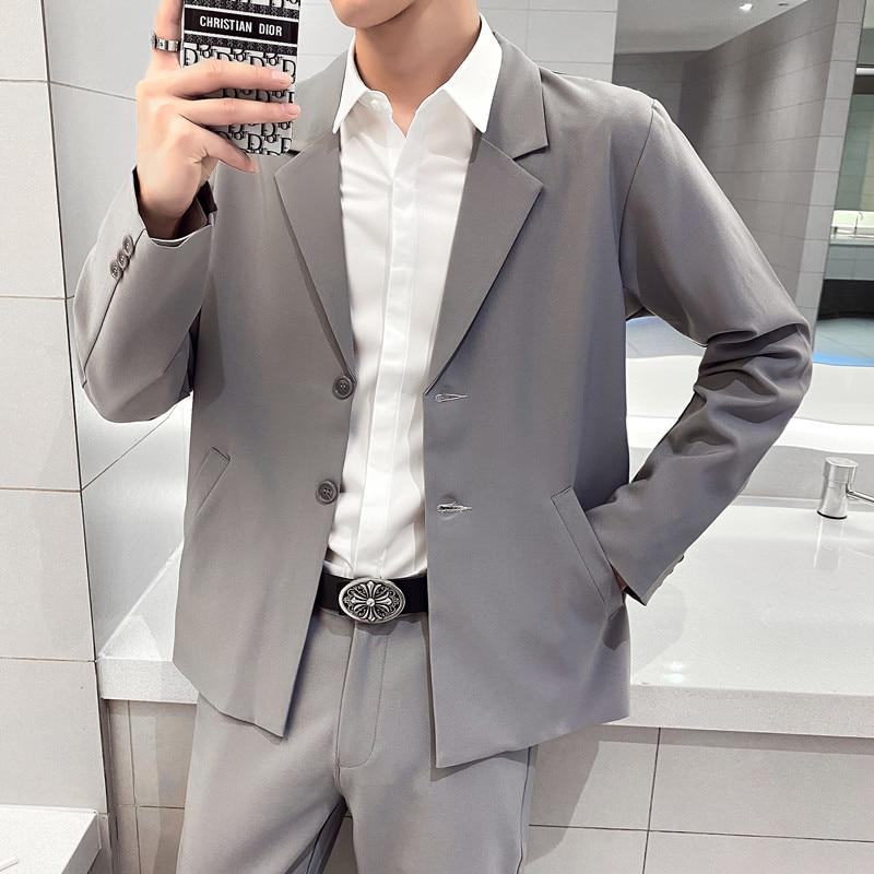 Chaqueta holgada informal para hombre, moda coreana, sencilla, largo de gran tamaño,...