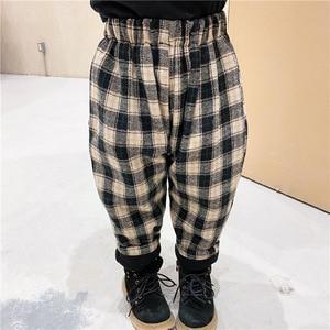 Korea children's wear 2020 Mori boys and girls winter plus velvet padded wool warm plaid harem pants