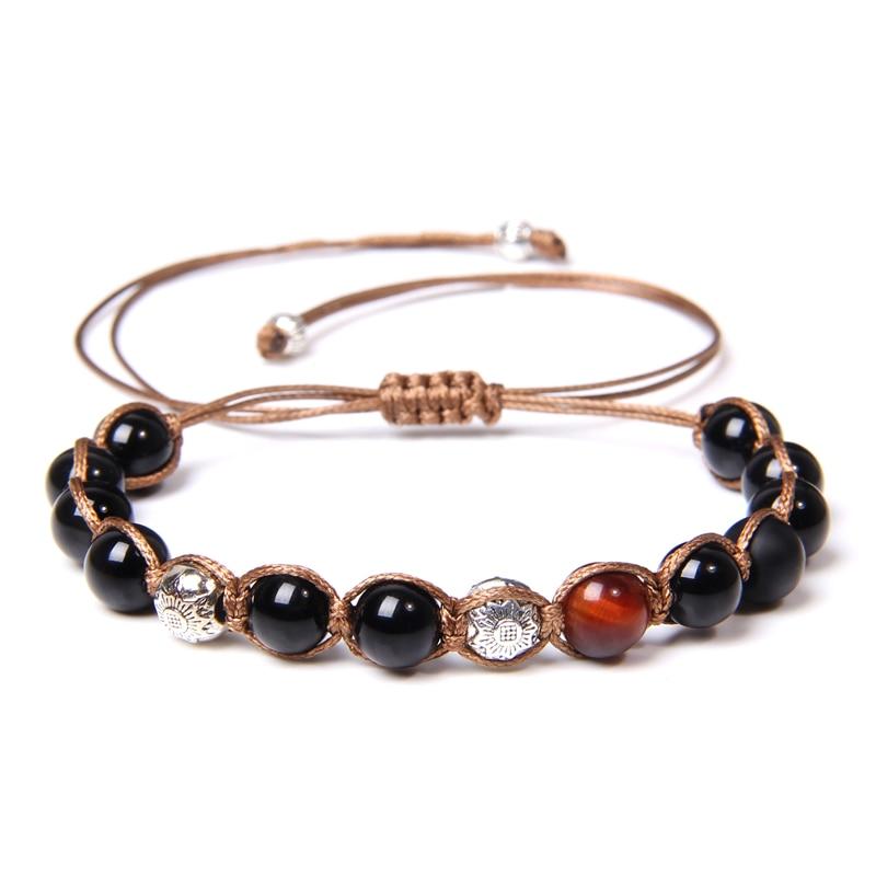 Vintage Men Bracelets Handmade Braid Polished Black Onyx Beads Bangle Natural Red Tiger Eye Woven Bracelet Adjustable Jewelry