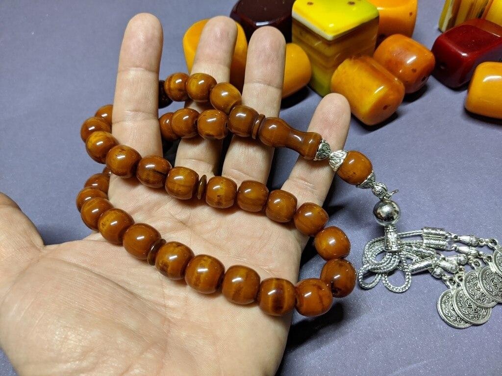 Ottoman Faturan German Amber Sandalous Misbaha Prayer Beads Islamic Gift Tasbih Tasbeeh Tasbeh Rosary Tasbih # 26A