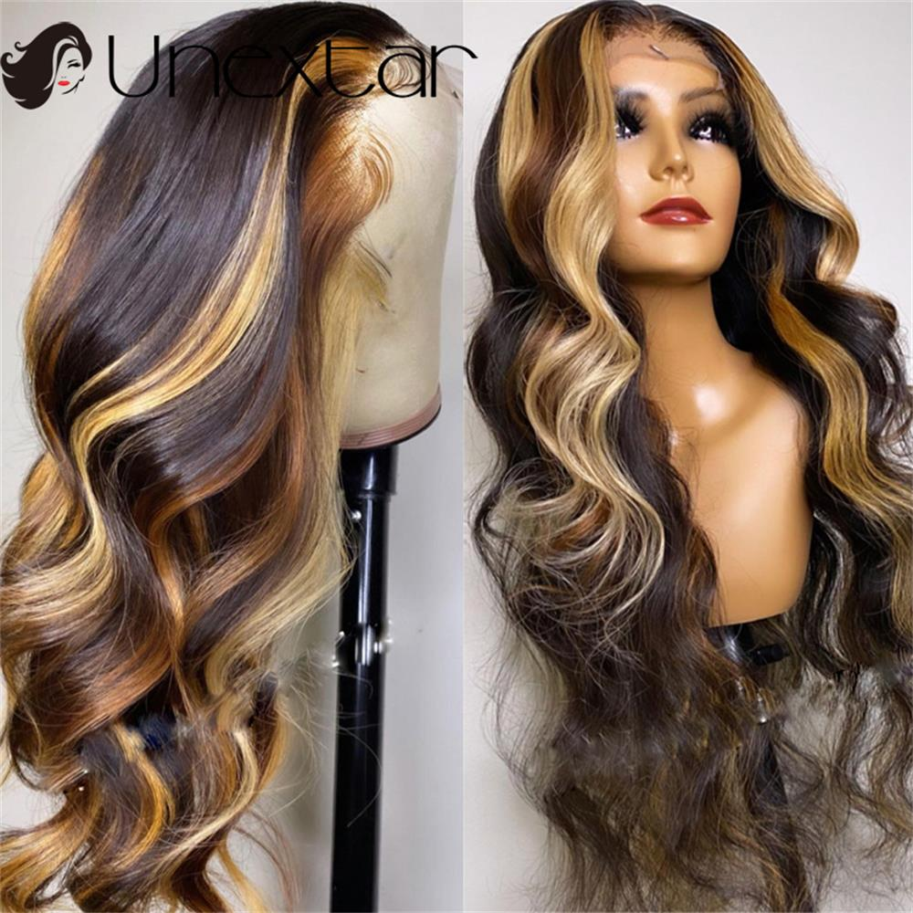 13x4 Highlight Colored Lace Middle Human Hair Wig Honey Blonde Brown Pre Plucked 180% Brazilian Remy Wavy Lace  Wigs For Women