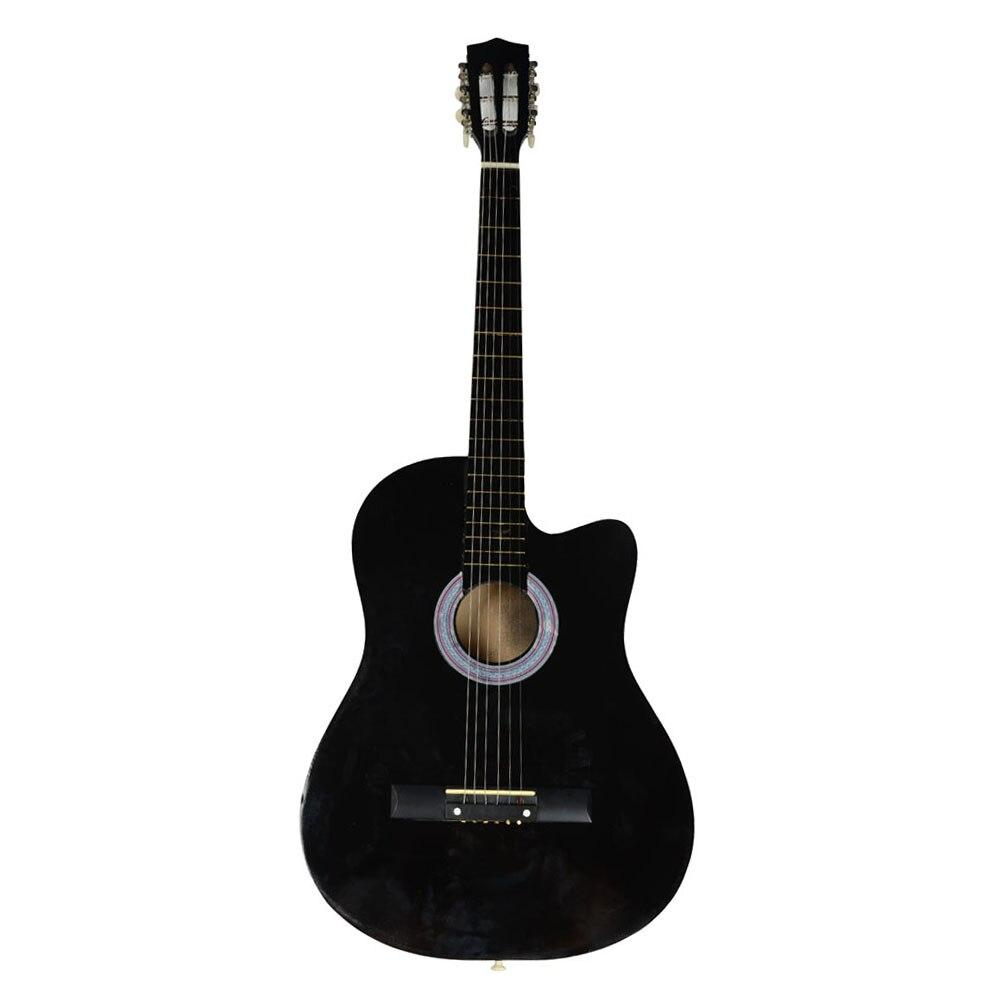 Hot Selling 38 Inch Cutaway Acoustic Guitars with Guitar Plectrum Black