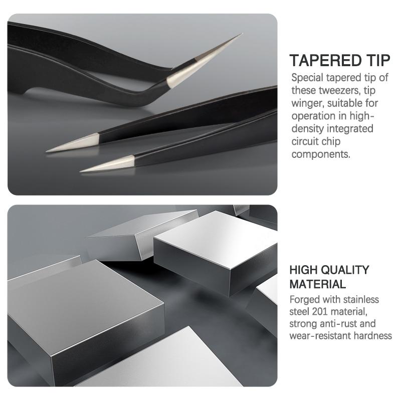 Pinzette curve e dritte pinzette in acciaio inox di precisione - Set di attrezzi - Fotografia 4