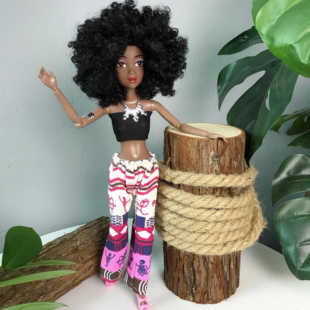 Muñecas negras para niñas conjunto movible muñeca Africana juguete muñeca negra mejor regalo muñecas de bebé niños divertido juguete niñas regalos de cumpleaños M50 #