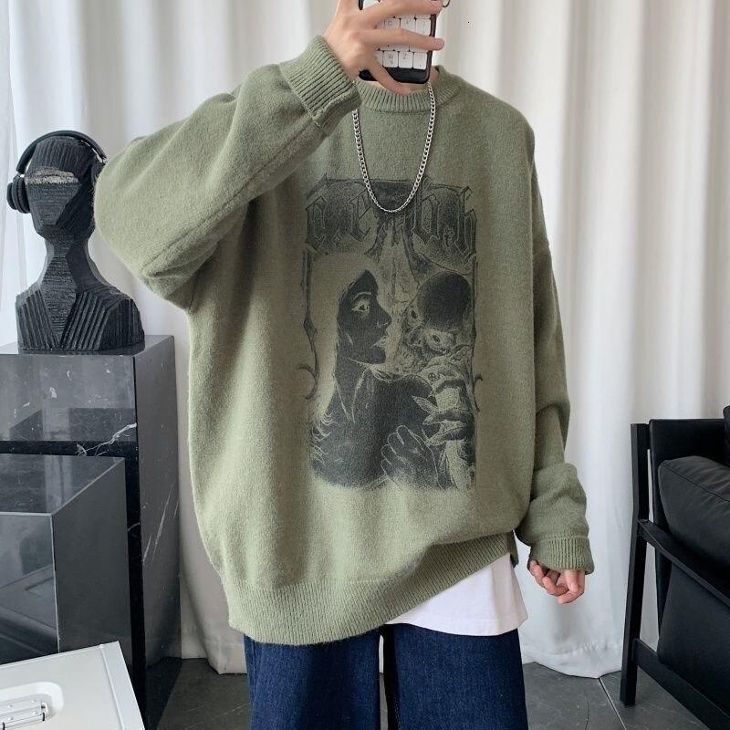 Мужской Свитер оверсайз в Корейском стиле, осенние модные пуловеры в стиле Харадзюку унисекс, винтажный мужской вязаный свитер, мужская оде...