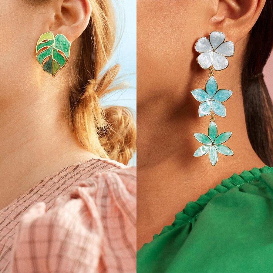 Girlgo Ba * Flor de hoja verde esmalte de plantas, pintura al óleo, Pendientes colgantes para mujer, perla de cristal, pendiente, joyería, pendiente de fiesta