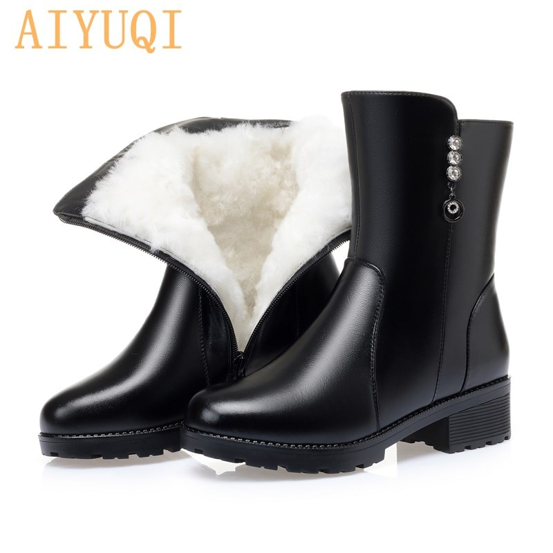 AIYUQI Womens Snow Boots Natural Wool 2021 New Genuine Leather Warm Women Boots Winter Large Size Th