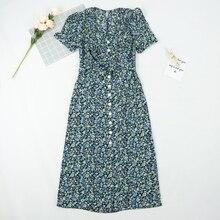 2020 France bleu Rose arbre impression vestido élégant col en V femmes robes mi-longues Vintage ceintures Wray shei N femmes robe robe de mode