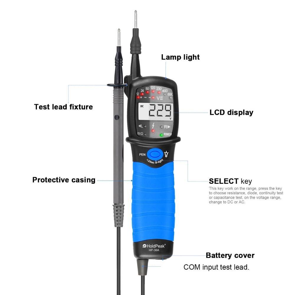 HP-38A اختبار القلم ، الرقمية LCD عرض AC/DC الجهد تستر عدم الاتصال السيارات المدى ، المرحلة دوران ، اختبار كاشف الاستمرارية اختبار