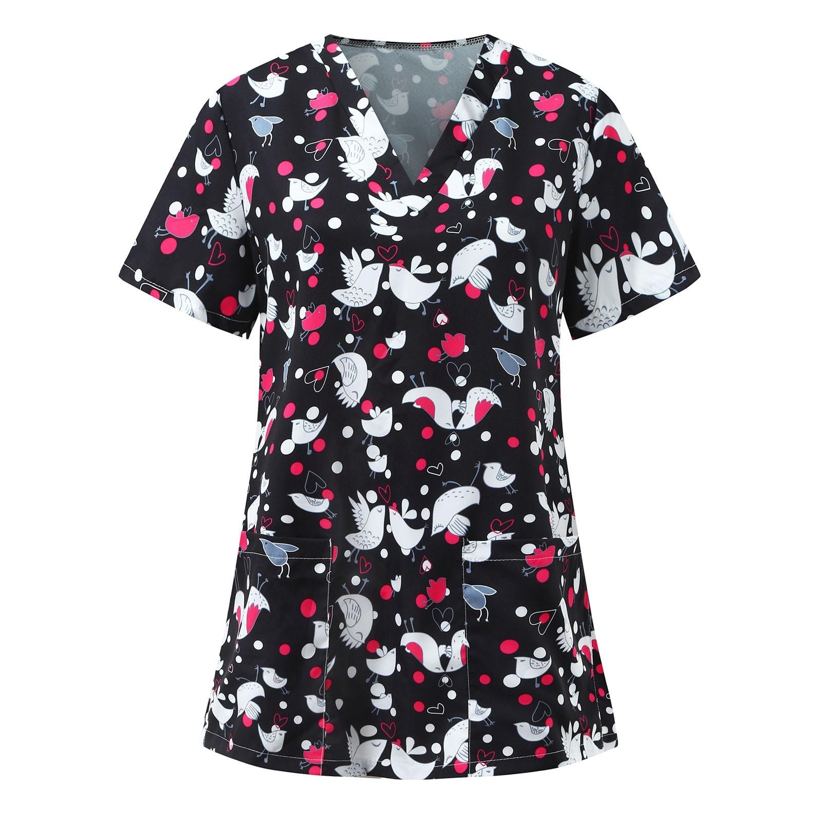 Summer Worker Tops 2021 NEW For Women Uniform Plus Size Nurse Uniforms Cartoon Animal Printed Short Sleeve V-Neck Carer Top A20