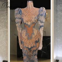 Fairy Long Sleeves Prom Dress Party Dresses For Women Couture Dubai Arabic Beaded Evening Dress Gown