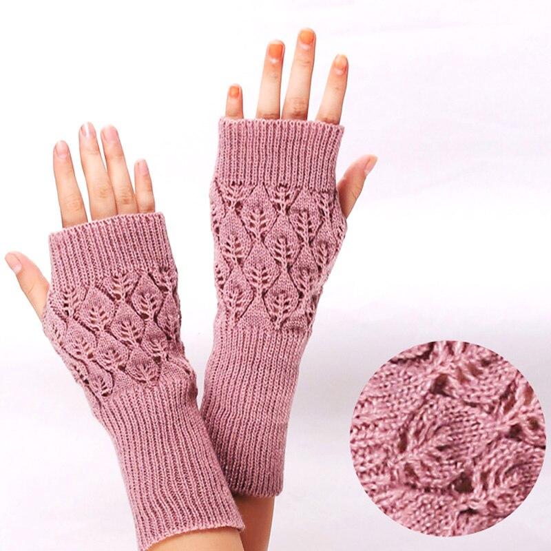 Зимние вязаные рукавицы стрейч, теплые перчатки без пальцев, вязаные крючком рукавицы для девочек, Зимние перчатки для женщин