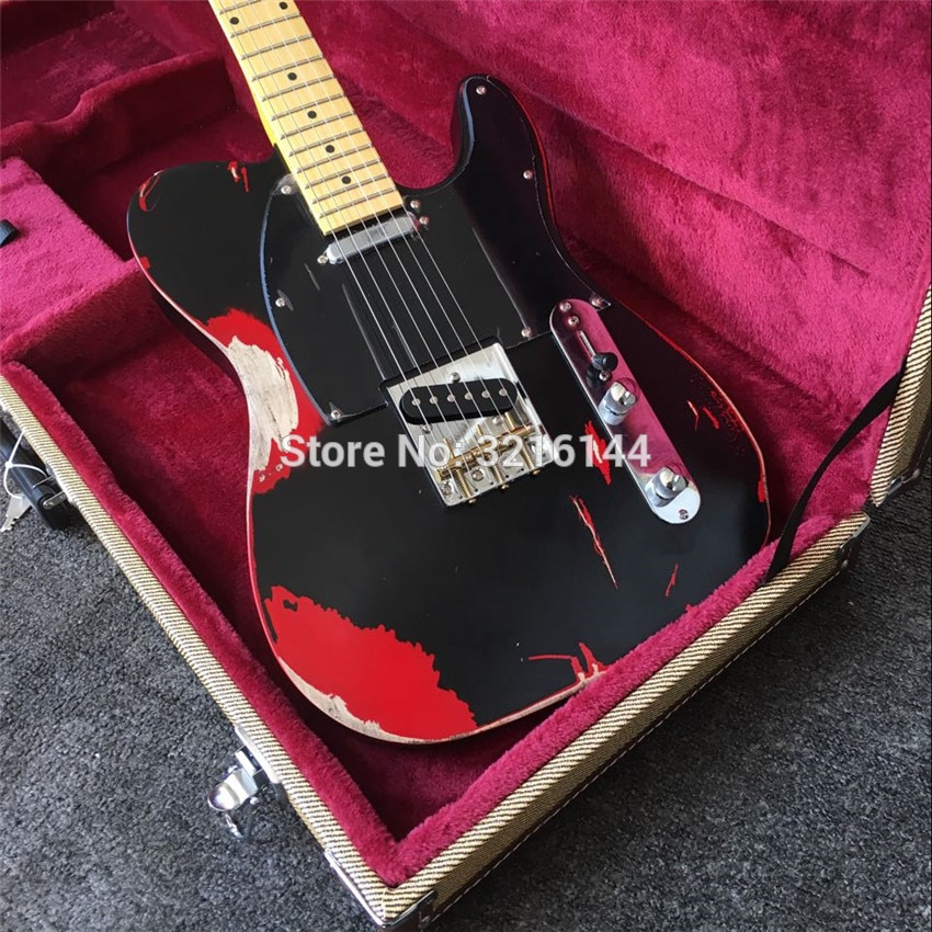 In stock, red tinted, do old electric guitar, antique relic guitars, real photos, free shipping enlarge
