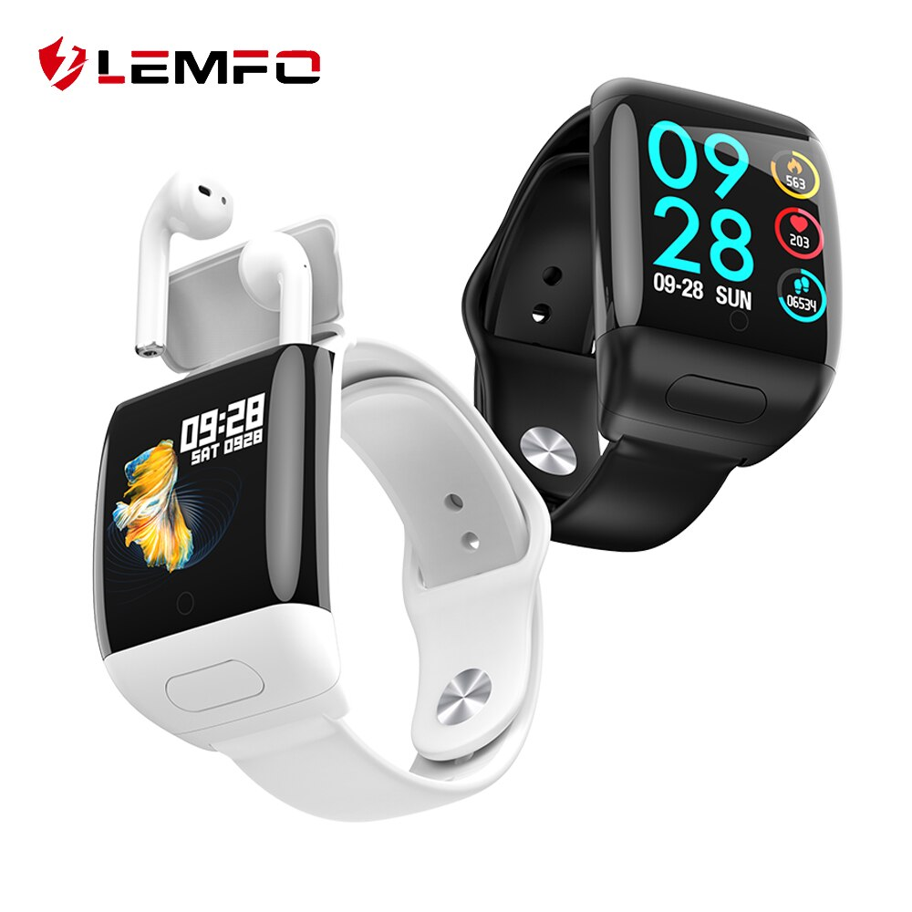 LEMFO 2020 New TWS Smart Watch Wireless Bluetooth Earphone 2 In 1 Bluetooth 5.0 Call HD Large Screen 30 Day Standby Smartwatch