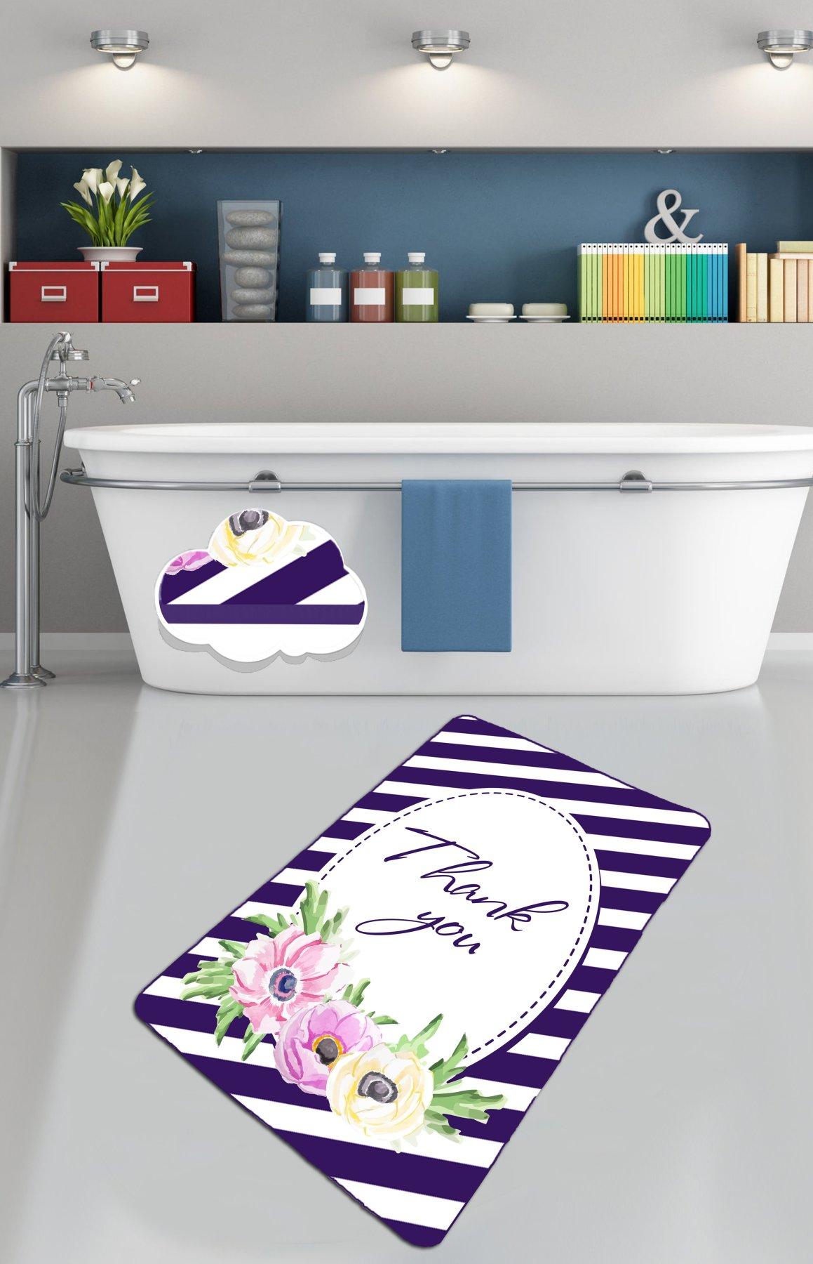 سجادة حمام غير قابلة للانزلاق مقاس 80 × 100 سم 32 بوصة × 40 بوصة etgديكور شكرا لك