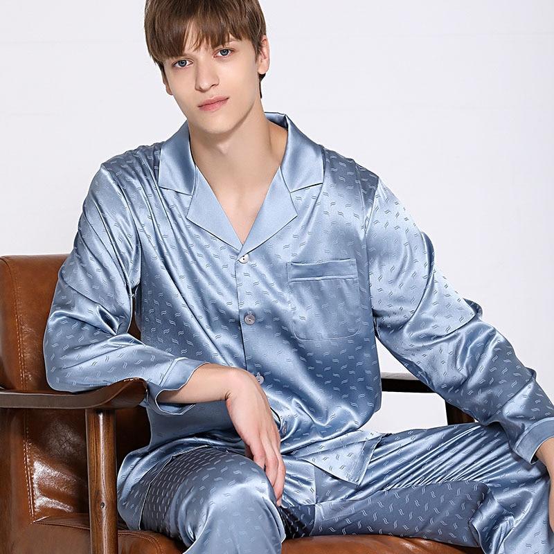 19 momme natural silk men sleepwear new Long sleeve pajama sets men Elegant Blue jacquard leaves silk sleepwear men T9085