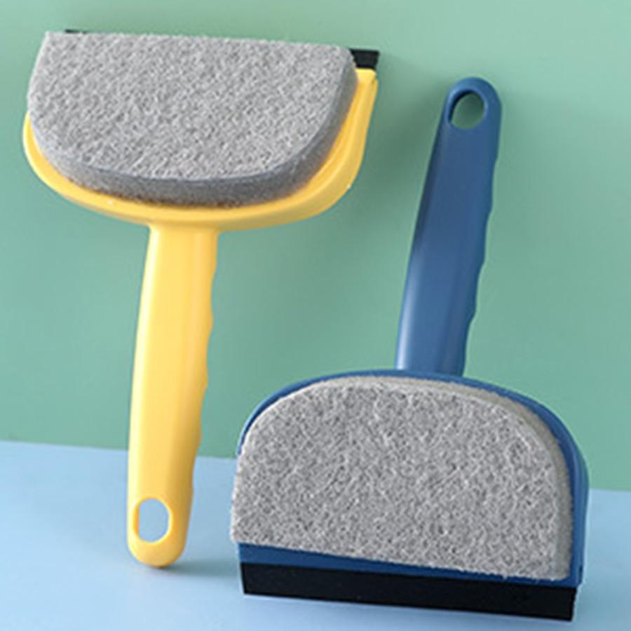 Cepillo limpiador de ventanas para coche, cepillo doble de plástico azul, cepillo de vidrio para casa, Vclean Grout, limpieza de Cristales, productos de baño ZZ50BQ