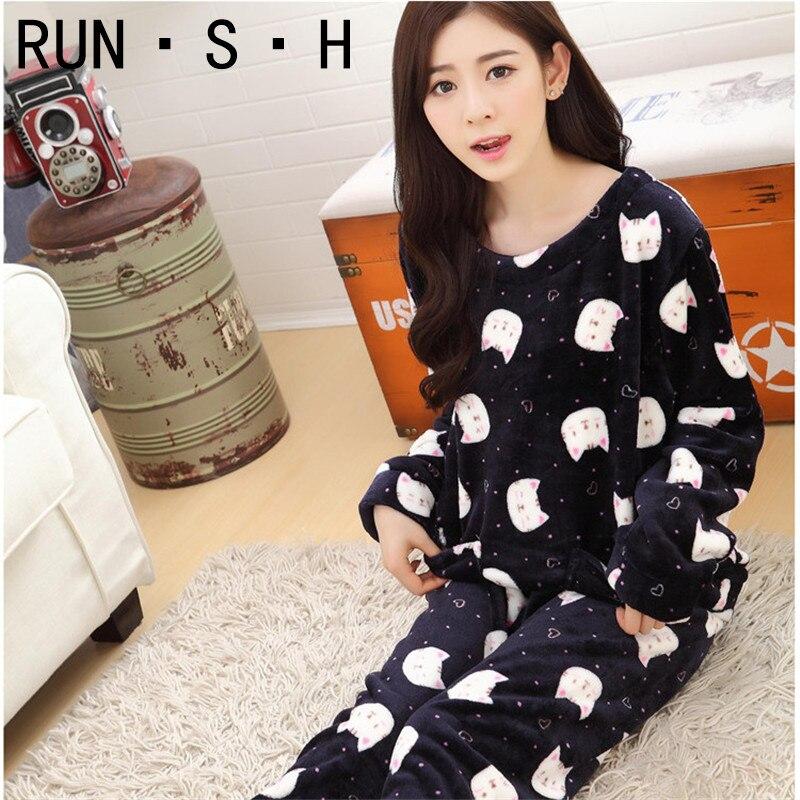Dessin animé belle tenue mode pyjamas hiver flanelle garder au chaud pyjamas corée Kawaii col rond loisirs en vrac Ms pyjamas en cachemire