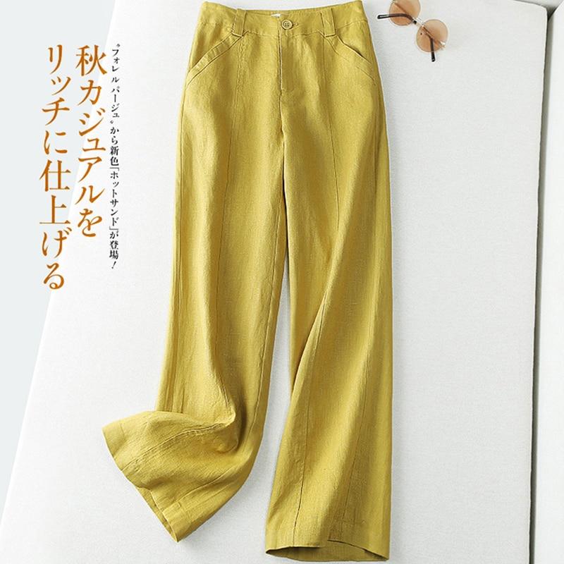 Женские широкие брюки из хлопка и льна, женские льняные брюки, брюки, женские длинные широкие брюки с карманами