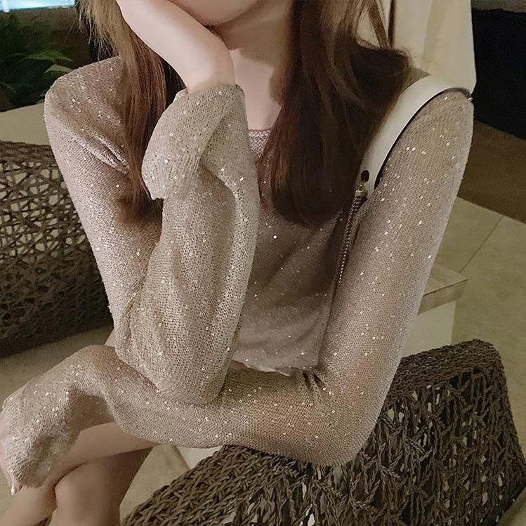Cakucool-camisa de punto con lentejuelas para mujer, Tops básicos dorados de Lurex...