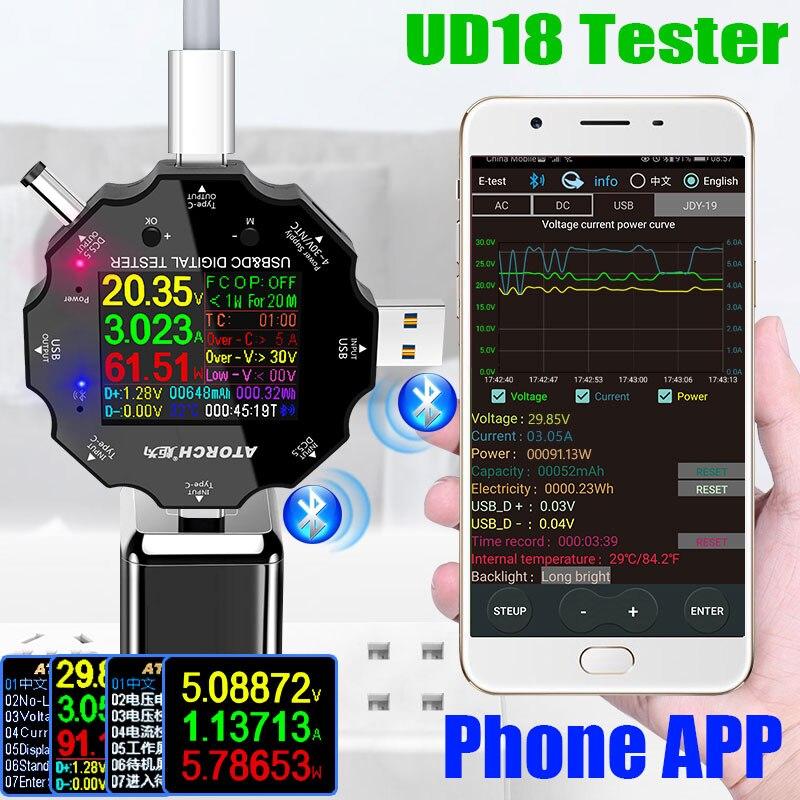 UD18 USB 3,0 18в1 USB тестер приложение dc Цифровой вольтметр Амперметр voltimetro power bank детектор напряжения вольтметр Электрический доктор