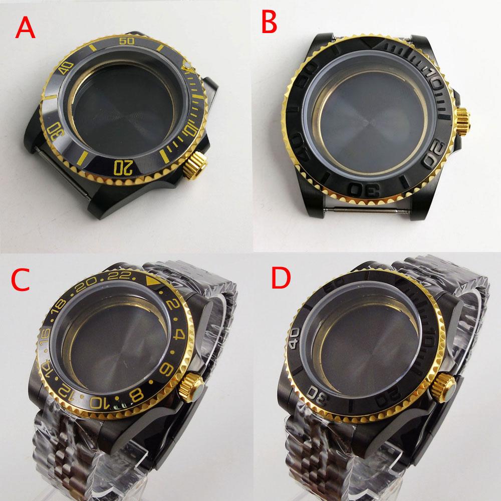 BLIGER اثنين من لهجة الذهب الأسود المغلفة ساعة صالح NH35 NH36 ميوتا 8215 ايتا 2836 السيراميك الحافة إدراج اليوبيل سوار