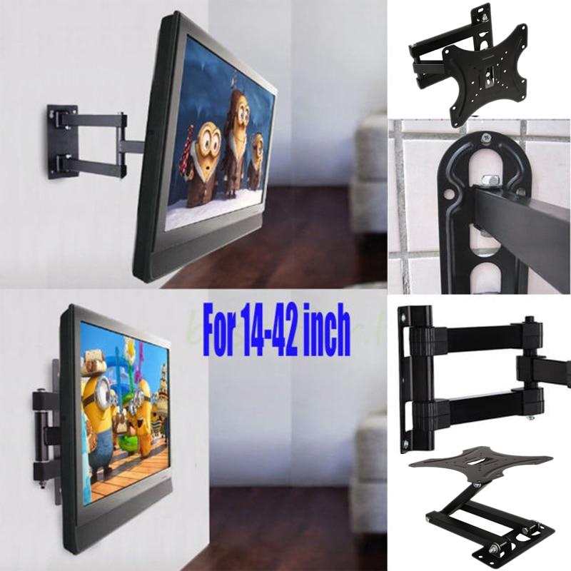 14-42 pulgadas ajustable TV soporte de montaje en pared para TV de Panel plano de apoyo 15 grados de inclinación para LCD Monitor LED sartén plana