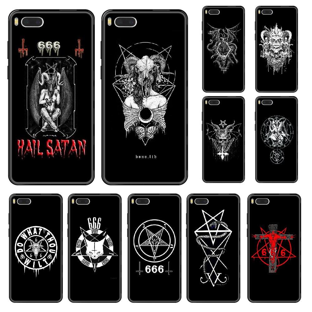 Pentagrama 666 demoníaco satânico caso de telefone para xiaomi redmi mi 3 5 6 8 9 a1 2 max3 mix2 x se lite pro preto silicone hoesjes tpu