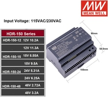 MEAN WELL HDR-150 85-264VAC to DC 12V 15V 24V 48V Meanwell Ultra slim step shape DIN Rail Power Supply HDR-150-12 HDR-150-24