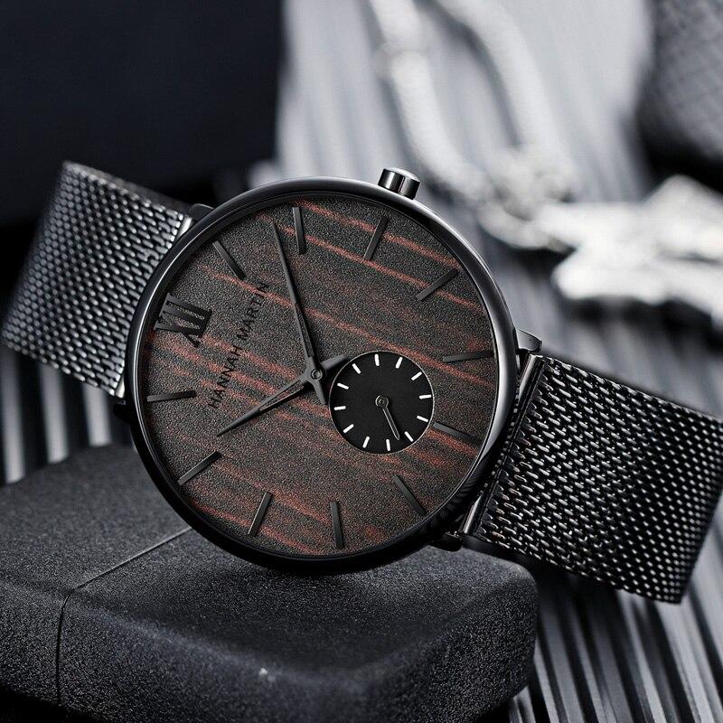Madeira de Cerejeira Relógios de Pulso Relógio para Homem Relógios Masculinos Moda Nova Desig Ebony Dial Aço Inoxidável Malha Quartzo Masculino Montre Homme