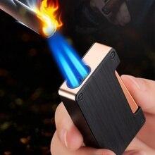 Metal Windproof Gas Lighters Double Fire Portable Lighter Jet Torch Cigar Butane Lighters Smoking Ac