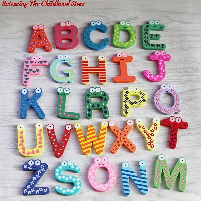 26 букв детские деревянные магниты на холодильник алфавит детские развивающие игрушки