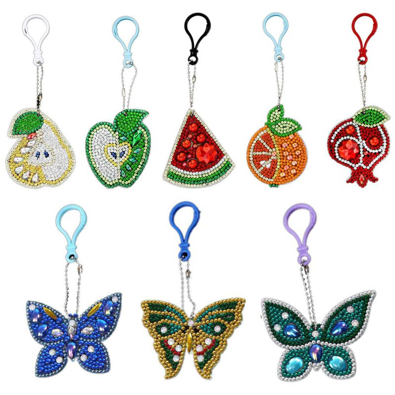 Kits de llavero de pintura para niños y adultos, pintura de palo con diamantes por números, Kits de colgantes de llavero fácil