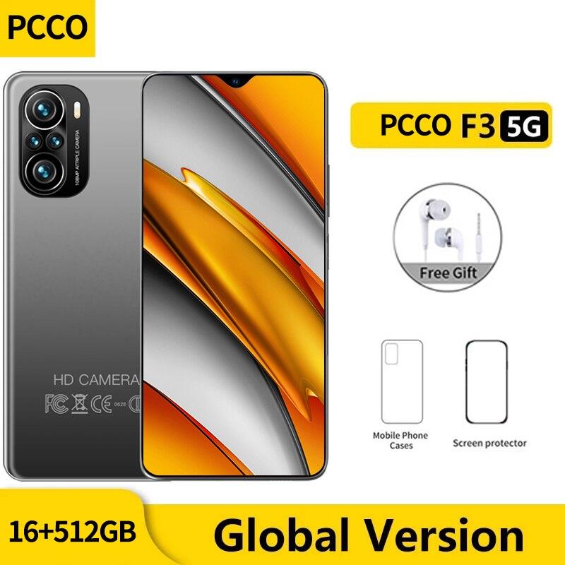 Global Version F3 5G Smartphone Smartphone 6.7inch 48MP Quad Camera Mobile Phones