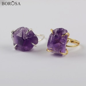 5/10Pcs Gold/SIlver Plated Raw Amethysts Rings Fashion Natural Purple Quartz Rings for Women Polished Gems Stone Rings ZG0441