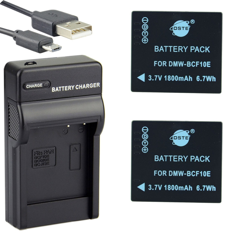 3 uds 1800mAh 3,7 V DMW-BCF10E DSTE cargador de batería para cámara para Panasonic DMC-FX550 DMC-FX580 DMC-FX48 DMC-FX40 DMC-FS6 DMC-FS12