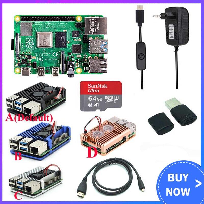 Original Raspberry Pi 4 Model B Kit + Aluminum Case + Heat Sink + 3A Switch Power +  HDMI-compatible Option 64 32GB Card |Reader