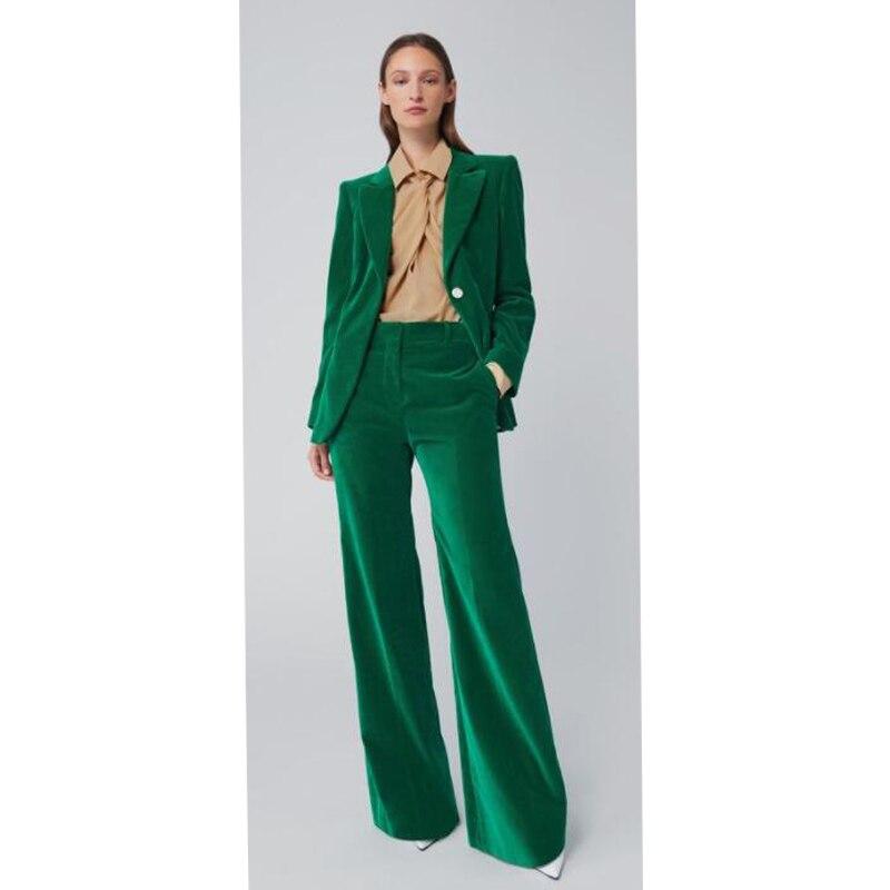 Бархатные зеленые костюмы для женщин (пиджак + брюки), костюм с длинным рукавом, женские костюмы с курткой, женские костюмы на заказ