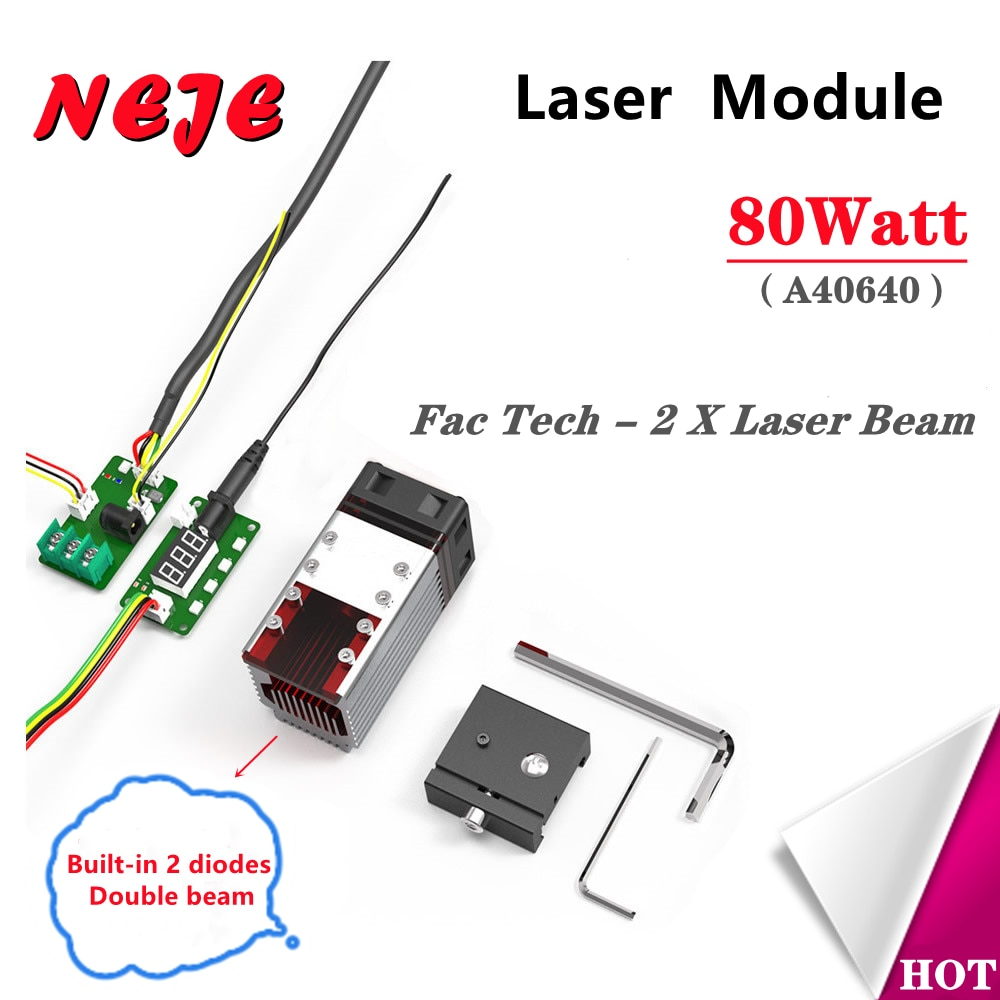 NEJE 80W A40640 CNC Laser Engraver Cutter Module Kits Laser Double Beam 2 Diodes High Power Wood Mark Cutting Tool 3D printer