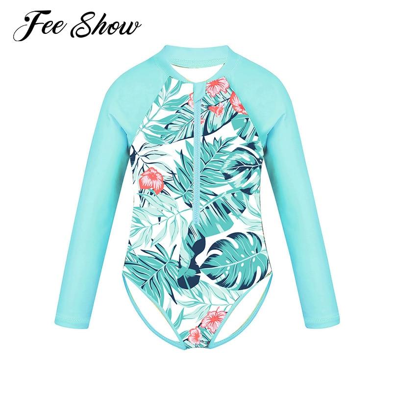 Kids Girls One-piece Swim Suits Brazilian Beachwear Long Sleeves Palm Printed Zippered Swimsuit Swimwear Bathing Suit Rash Guard