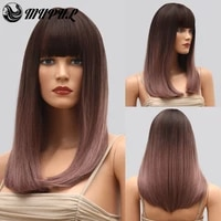 pink straight medium ombre daily natural%c2%a0 synthetic wig with bangs for white women hair female cosplay heat resistant fiber wigs