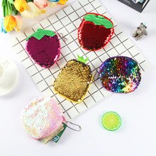 New Design Women Handbag Sequin Coin Purse Change Color Zipper Mini Wallet Change Pouch Portable Earphone Key Holder