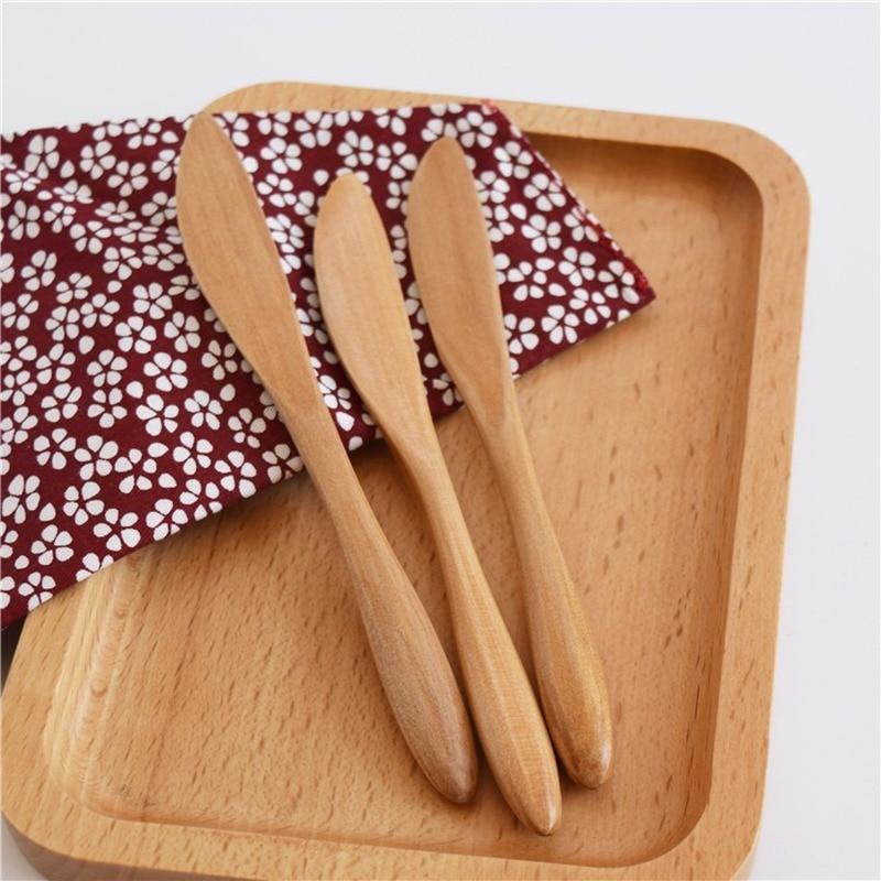 5pcs Set Japanese Dishes Wooden Wooden Butter Knife Cheese Spreader Cake Knife Jam knife tabla de quesos butter grater