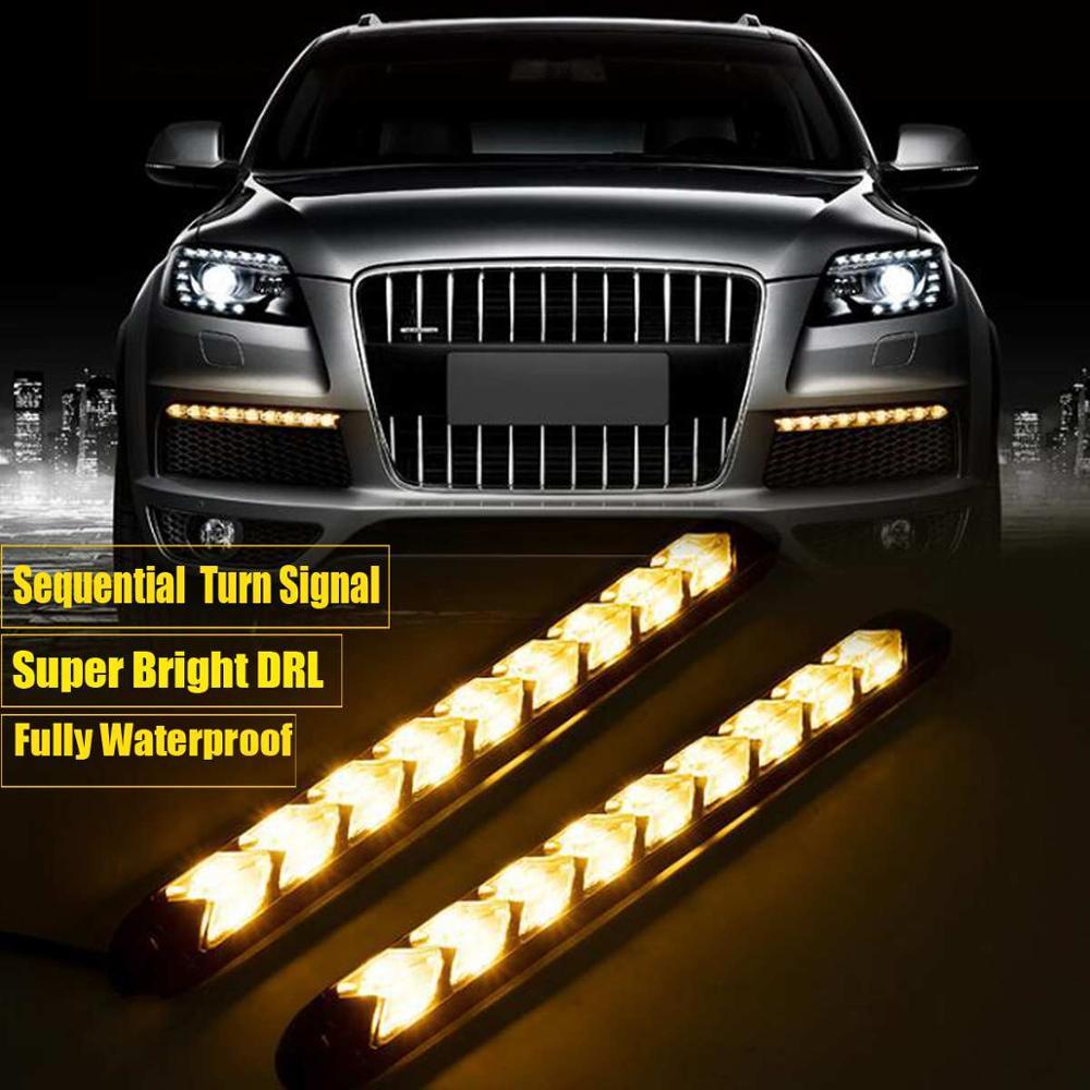 2 uds. Luces LED diurnas DRL para coche, luz de circulación diurna impermeable, luces de señal de giro automáticas, luces de día antiniebla, lámpara Universal de 12v