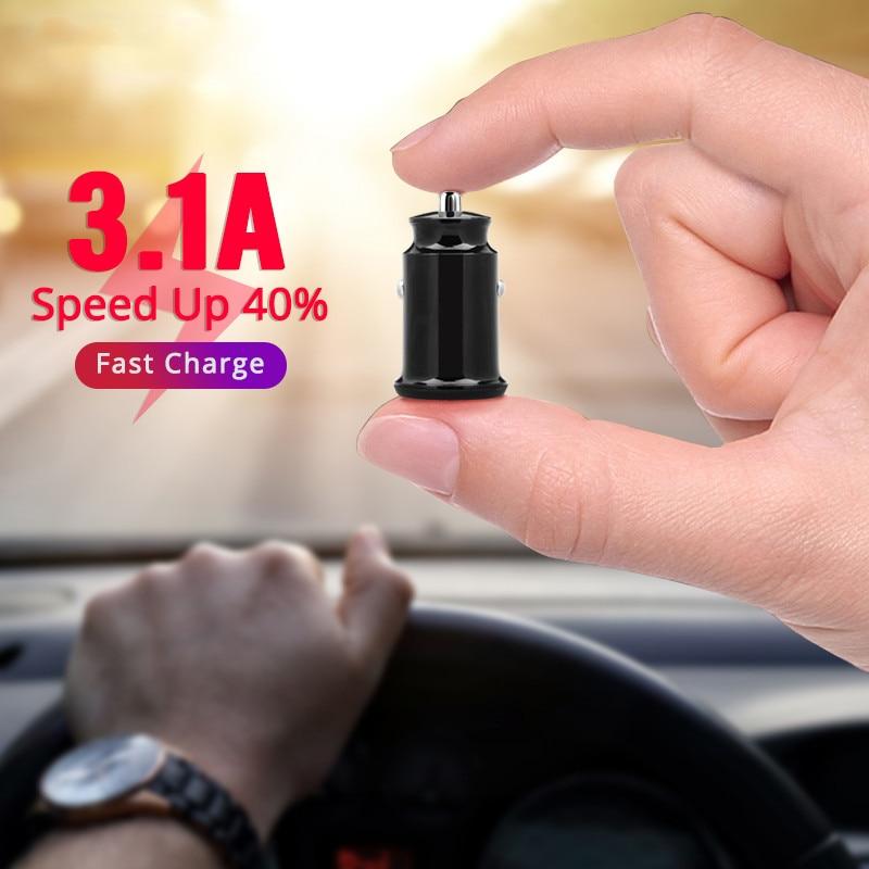 3.1A LED Mini cargador de coche Dual USB cargador de coche de carga rápida cargador de coche Auto 2 puertos para iPhone 7 6 X Samsung Xiaomi GPS