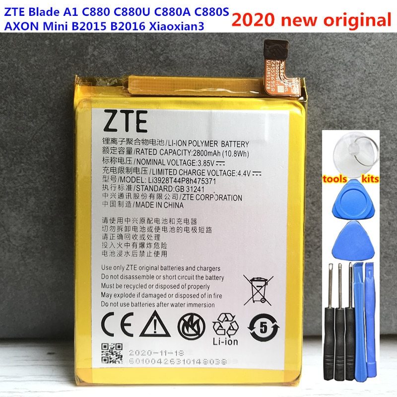 2800mAh Li3928T44P8h475371 Battery For ZTE Blade A1 C880 C880U C880A C880S AXON Mini B2015 B2016 Xiaoxian3 V8 Mini Batteries