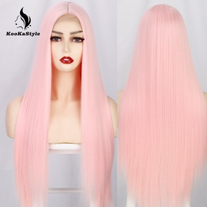KooKaStyle Synthetic Pink Wigs Long Straight Wigs for Black Women White/Blonde/Purple Cosplay Wigs Heat Resistant Hair for Party