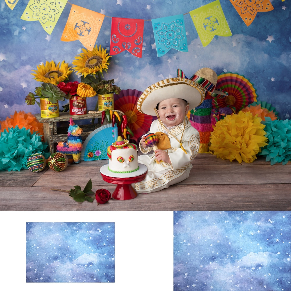 Peaceful Dusk-Newborn Baby Portrait Backdrop Fiesta Party Twinkle  Litte Star Birthday Background Starry Sky Photography