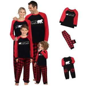 Christmas Family Matching Dad Mom Kid Pajamas PJS Set Xmas Bear Print Plaid Sleepwear Nightwear Gift