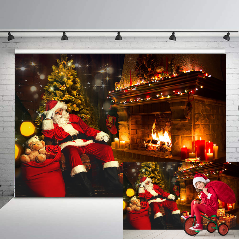 Mocsicka Christmas Party Backdrop Santa Claus Retro Vintage Fireplace Photo Background Gifts Toy Children Photography Backdrops